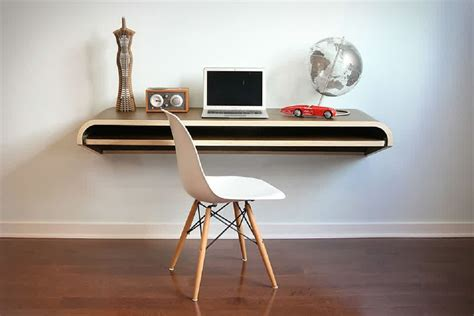 Minimalist Laptop Floating Desk Wooden Material On White Wall Desk