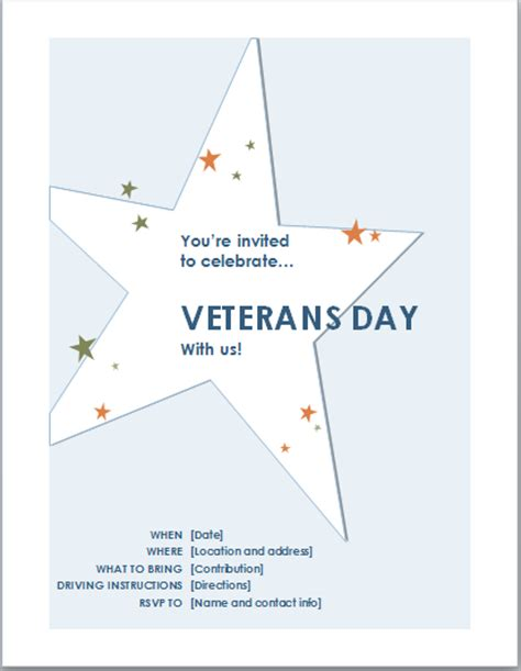 Veteran S Day Card Template by Veteran S Day Celebration Invitation Template Document