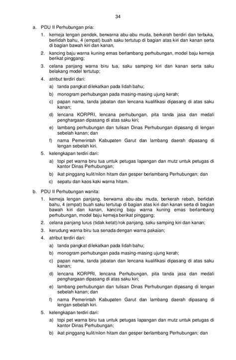 Baju Dinas Perhubungan perbup garut no 593 2011 ttg pakaian dinas