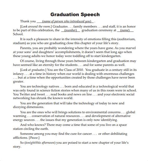 valedictorian speech template sle graduation speech exle template 10 free