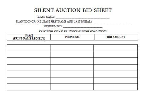 Auction Bid Sheet Silent Auction Bid Sheet Templates In Word Printable