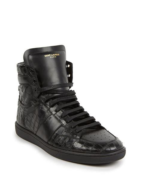 laurent high top sneakers laurent croc embossed leather high top sneakers in