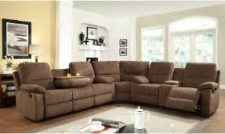 Recliner Sectional Sofas Aiden Chenille Reclining Sectional With Console Brown Modern Sectional Sofas By Hayneedle