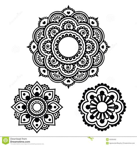 indian henna tattoo round design mehndi pattern stock