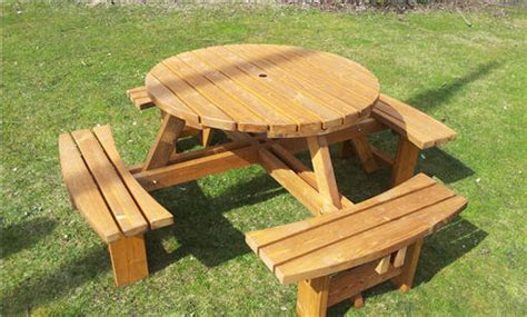 round picnic bench great value 8 seater round picnic tables 38mm thick excalibur picnic bench