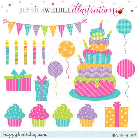 compleanno clipart happy birthday cake digital clipart for commercial or