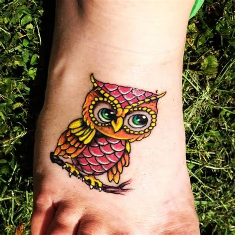 owl tattoo designs for foot 40 colorful owl tattoos collection