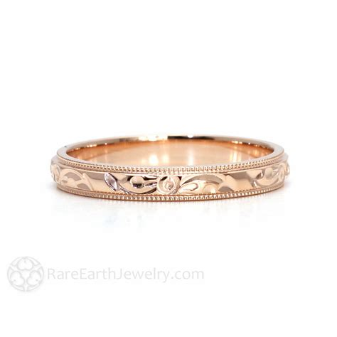 pattern gold wedding ring engraved wedding band vintage wedding ring 3mm floral by