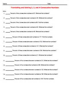 translating and solving consecutive numbers worksheets