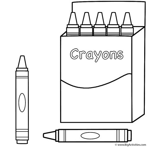 box of crayons and two crayons coloring page 100th day