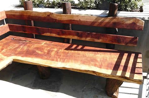 wood slab bench with back story creek wood benches