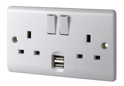 double l socket energia double wall socket with usb ener029