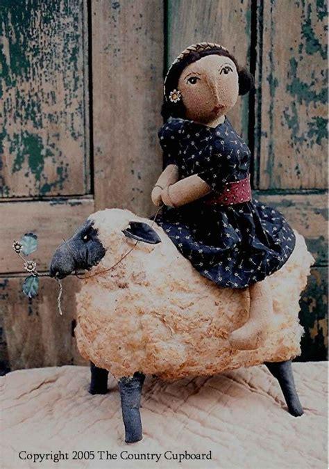pattern for art doll primitive folk art doll riding sheep craft sewing pattern
