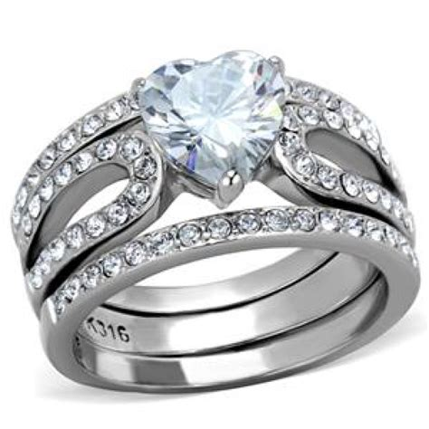 cje2041 wholesale stainless steel cz wedding ring set