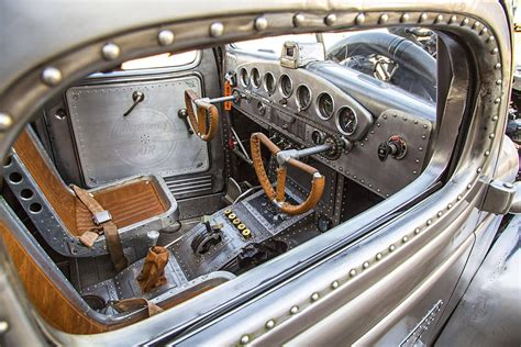 car interior tuning ideas bomber themed hotrod with rivets galore and custom bomber