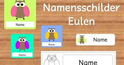 Etiketten Drucken Namensschilder by Frau Locke Namensschilder Eulen