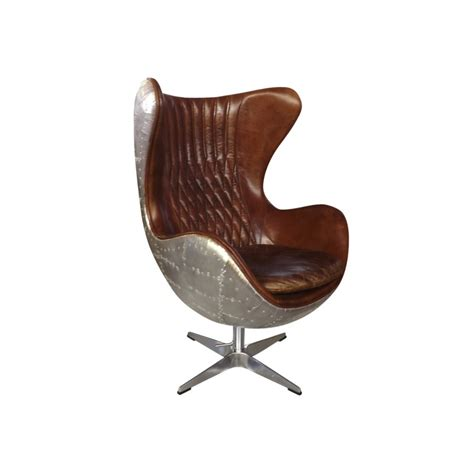 metal egg chair european design aviator egg chair in leather and panelled aluminium