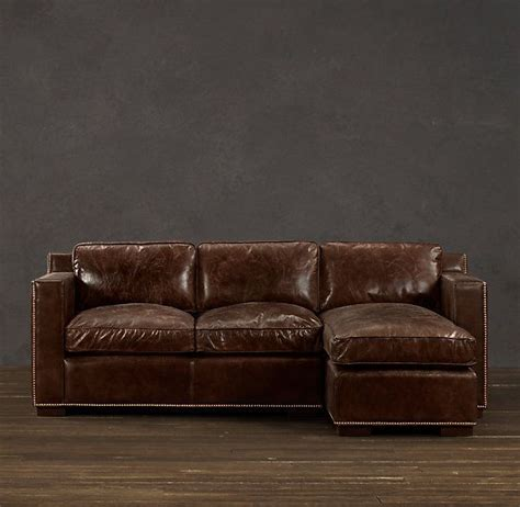 collins leather sofa chaise sectionals  nailheads