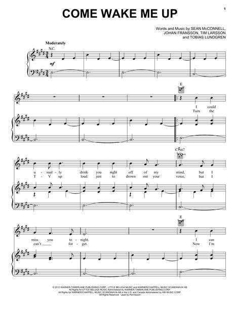 tutorial piano wake me up come wake me up sheet music direct