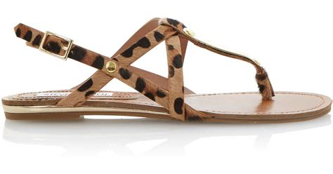 Sale Co Henna Wedges Ori steve madden henna pony flat sandals in brown lyst