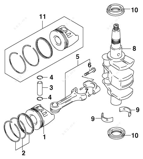 Johnson 2003 15 J15te4stc Crankshaft Amp Pistons Parts