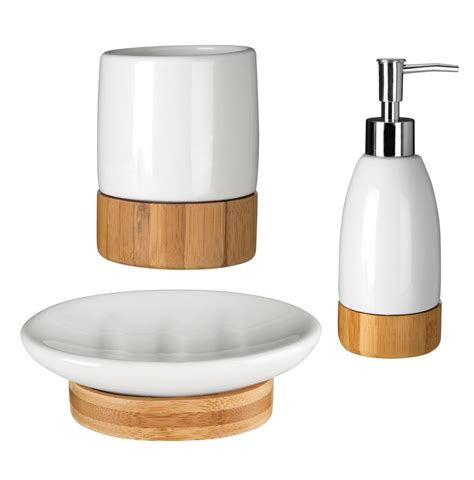 Bamboo Bathroom Accessories Earth White Dolomite Wooden Bamboo Base Bathroom Accessories Set Brand New