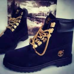 colored tims custom black timberland boots with gold from sneakerhead15 on