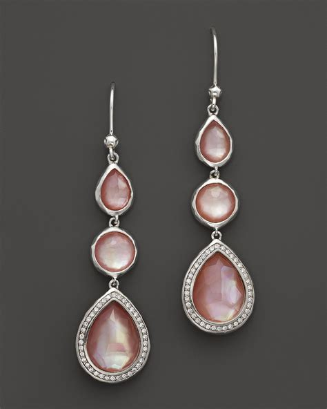 Ippolita Sterling Silver Stella Drop Earrings In Pink Mother Of Pearl With Diamonds in Pink   Lyst