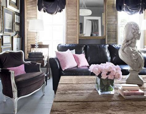 black and pink living room black leather couch eclectic living room benjamin