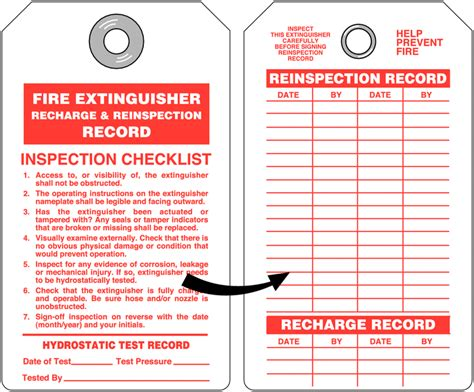 extinguisher inspection tag template extinguisher recharge and re inspection tag with