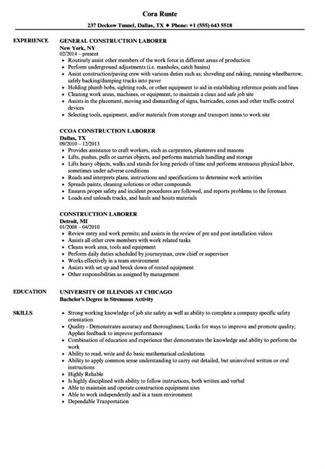 Resume Exles For Construction Resume Template For Construction Laborer