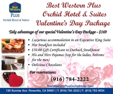 valentines packages roseville ca hotel valentine s day package special