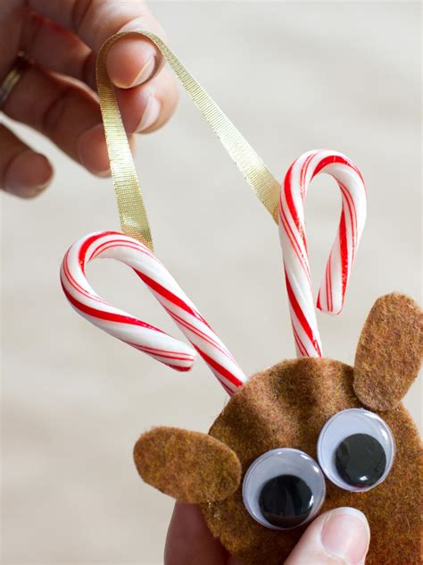 candy cane reindeer ornament hgtv