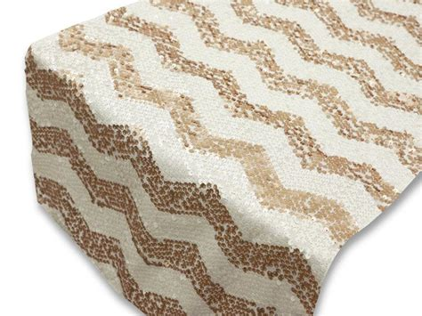 chevron chagne gold blush and white sequin table runner
