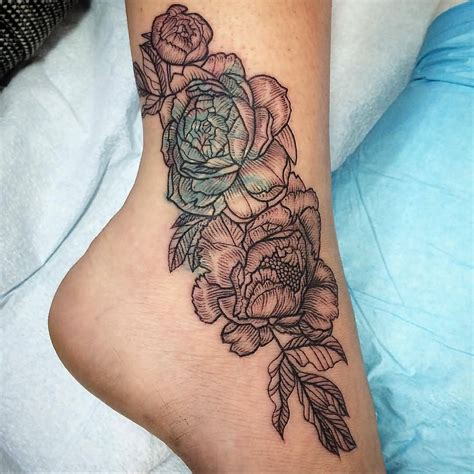 floral leg tattoo designs dotwork peony flowers on ankle