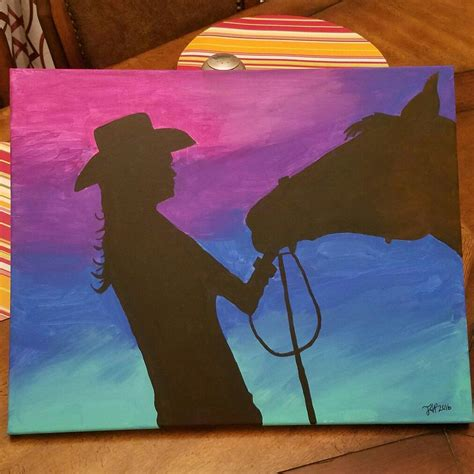 easy acrylic painting ideas pin it like image art pinterest easy acrylic paintings acrylic painting cowgirl horse easy paint night my