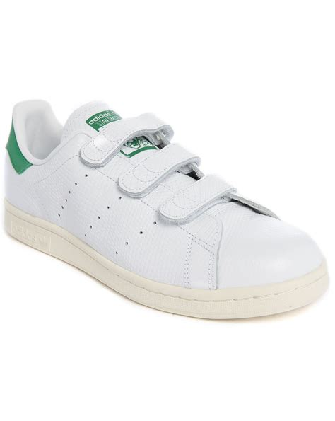 adidas originals stan smith velcro white embossed leather sneakers in white for lyst