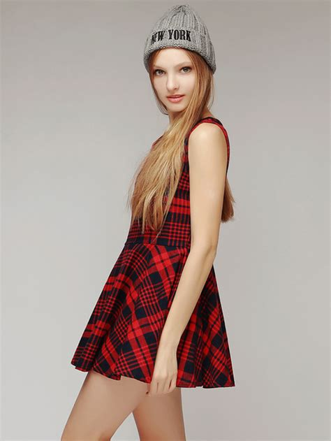Ragheeda Tartan Sleeveless Mini Dress storets tartan check sleeveless mini dress kstylick