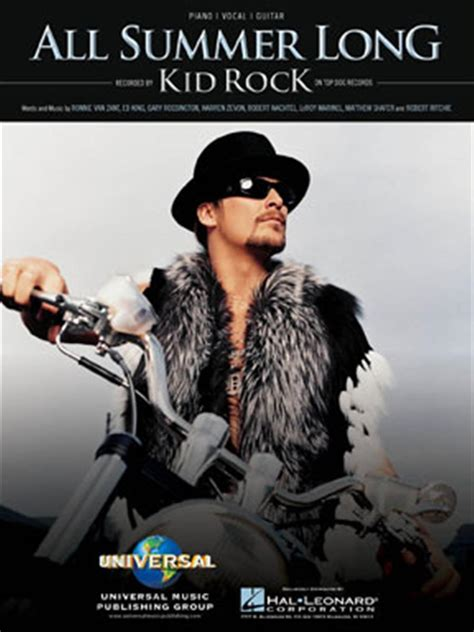 kid rock video all summer long kid rock quot all summer long quot piano vocal sheet music and