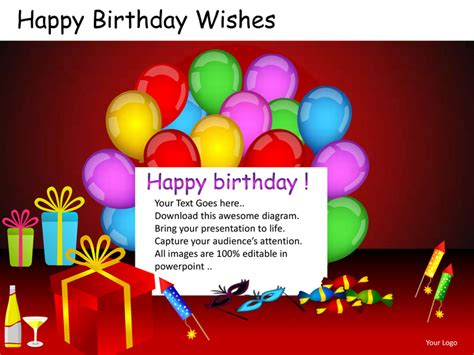 Happy Birthday Wishes Powerpoint Presentation Templates Birthday Card Powerpoint Template