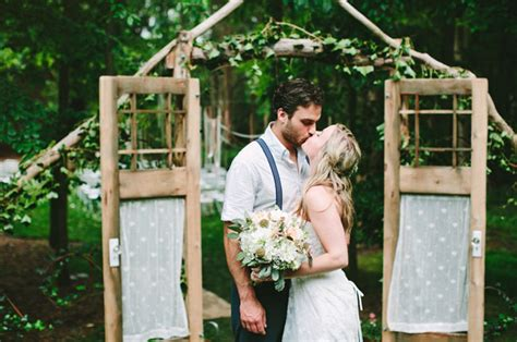 wedding in backyard chapel in the woods ceremony