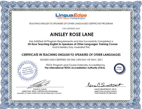 Or Certification Officially Tesol Certified Roselovesthailand