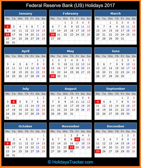 Columbus State Calendar Federal Reserve Bank Us Holidays 2017 Holidays Tracker