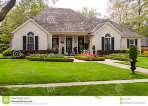 one storey house bungalow with a landscaping stock photo image 41010012