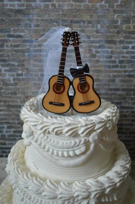 acoustic guitar wedding ivory cake topper musician guitar