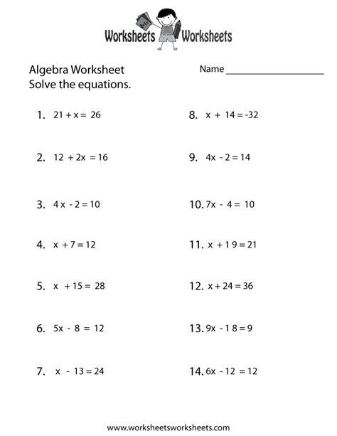 simple algebra worksheet printable math worksheets
