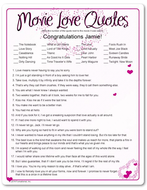 Printable Love Games | printable movie love quotes valentine s day party games