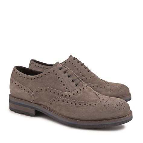 Handmade Brogue Shoes - handmade brogue shoes for in taupe suede leather