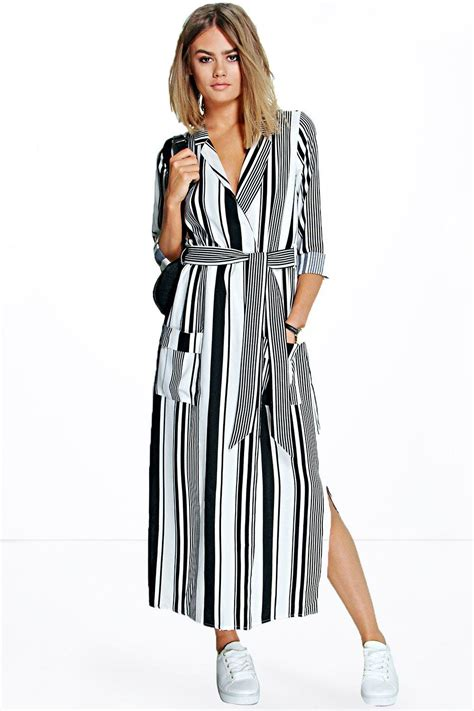 Striped Shirt Dress becky striped maxi shirt dress at boohoo