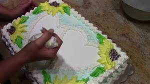 sunflower sheet cake with stencils how to cake decorating youtube